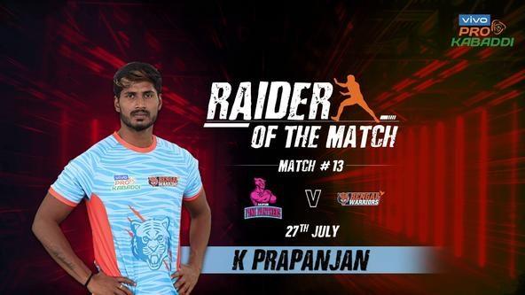 Match 13: Raider of the Match - K. Prapanjan