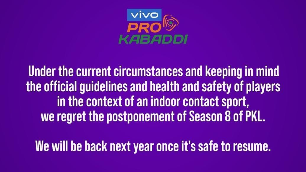 Update on Vivo Pro Kabaddi Season 8