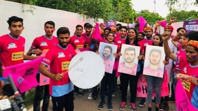 Panthers Pack show their support for Jaipur Pink Panthers