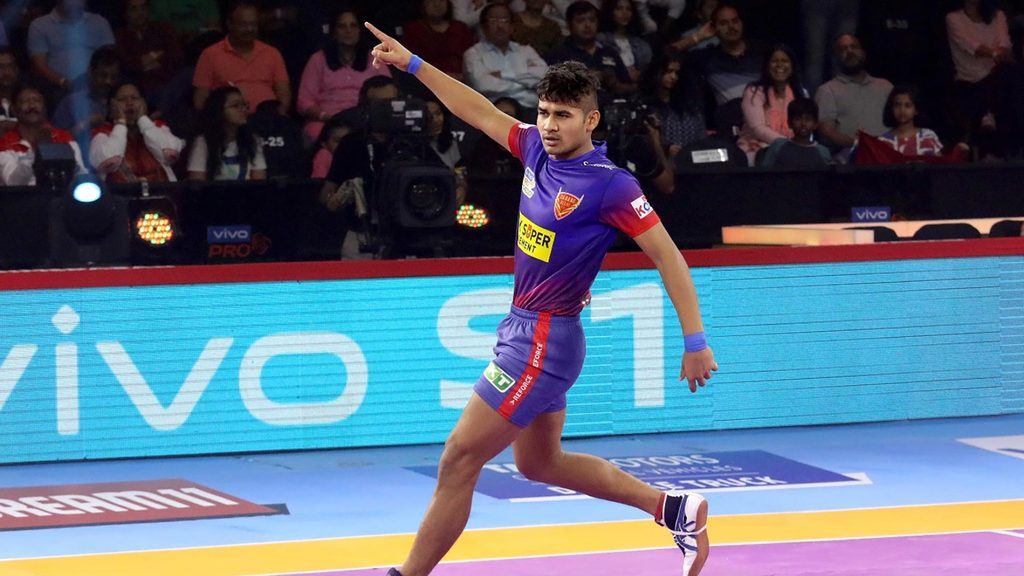 Naveen Kumar in action during a Season 7 match.