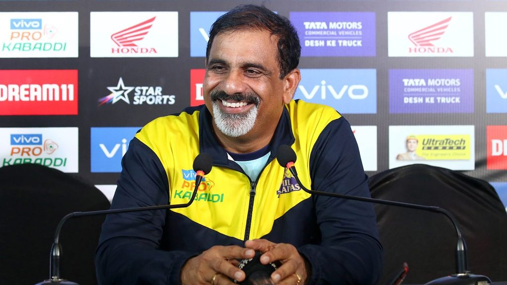 Tamil Thalaivas coach E. Bhaskaran in the post-match press conference.