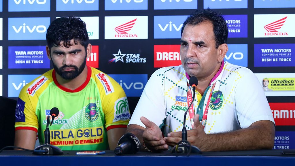 Patna Pirates coach Ram Mehar Singh and Pardeep Narwal at the post-match press conference.