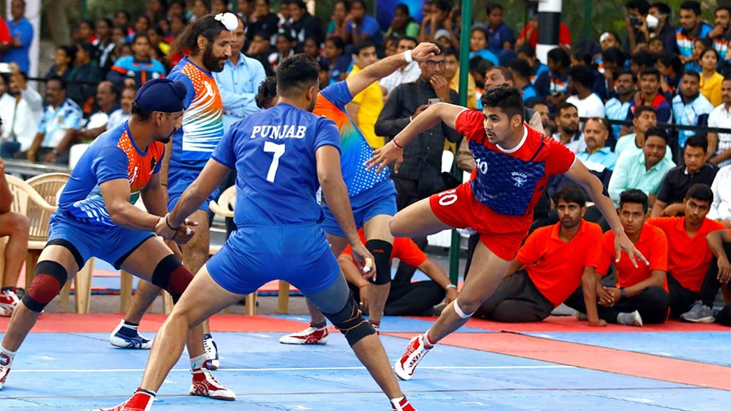 Naveen Kumar in action for Services at the 67th Senior National Kabaddi Championship.